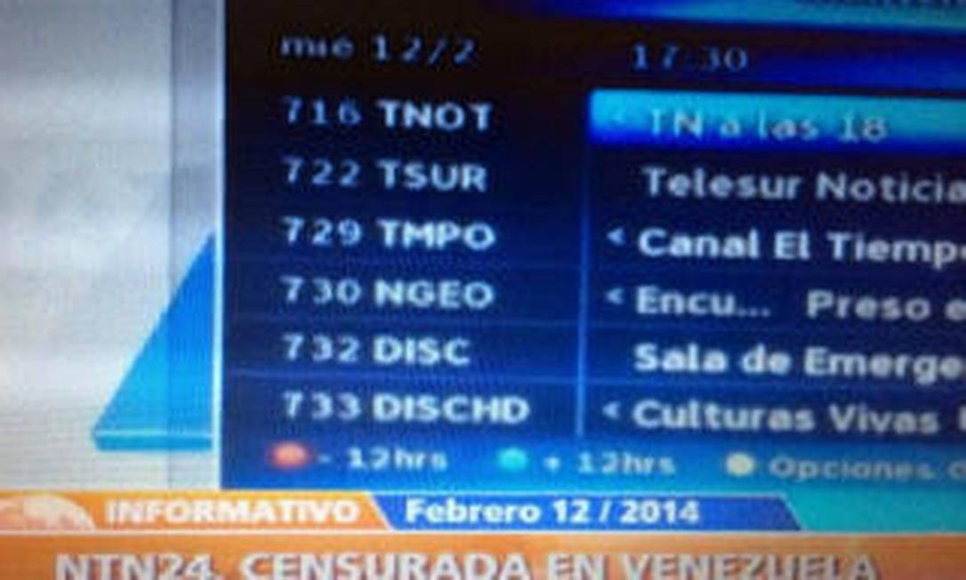 Canal NTN 24 teve que ser interrompido na Venezuela Foto: Reprodução