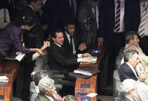 Cassação de Natan Donadon, que saiu do presídio para assistir no plenário da Câmara a inédita sessão com voto aberto Foto: Givaldo Barbosa/12-2-2014