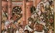 Ilustração mostra o exército de Gengis Kahn atacando uma fortaleza: expansão do Império Mongol introduziu o DNA mongolês em populações espalhadas opr milhares de quilômetros entre o Nordeste da Ásia até a Turquia