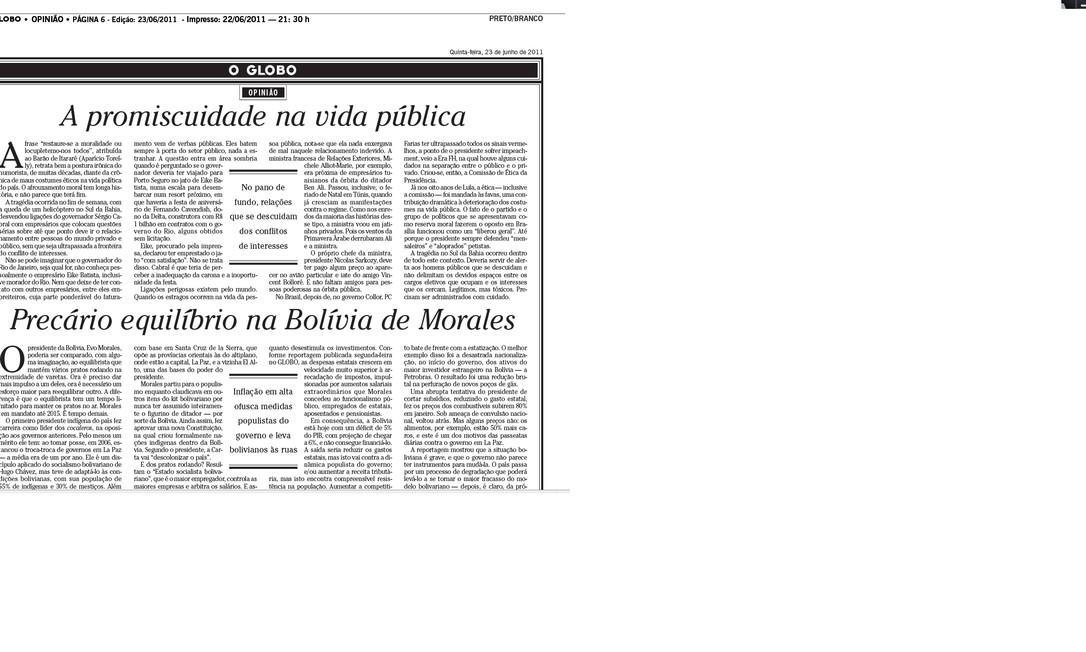 A promiscuidade na vida pública (editorial publicado na edição de O GLOBO do dia 23/06/2011) Foto: Arquivo O Globo