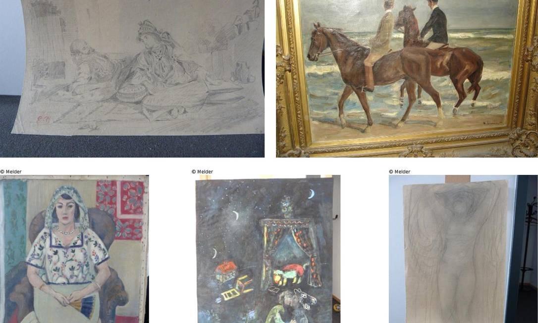Algumas obras de arte que eram de Gurlitt e foram apreendidas, divulgadas pelo governo alemão para tentar identificar os donos originais Foto: AFP