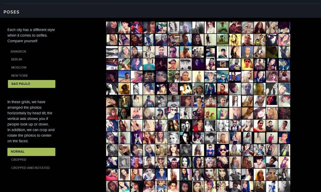 Mosaico de fotos selecionadas para o estudo 'SelfieCity' em São Paulo Foto: Reprodução / Selfiecity.net