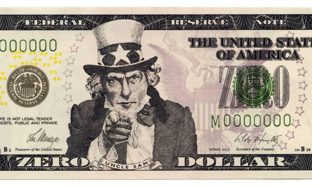 """""""Zero Dollar"""" (2013), uma das célebres """"Inserções em circuitos ideológicos"""", em que Cildo Meireles usa anúncios de jornal ou se apropria de cédulas e as reinsere no circuito. """"Eu mesmo já paguei coisa com Zero Dollar"""", brinca o artista Foto: Divulgação"""