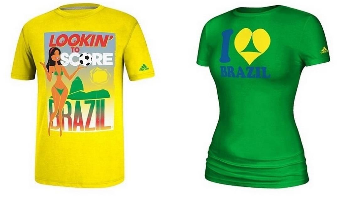 Camisas com conotação sexual sobre a Copa do Mundo vendidas pela Adidas nos EUA Foto: Divulgação