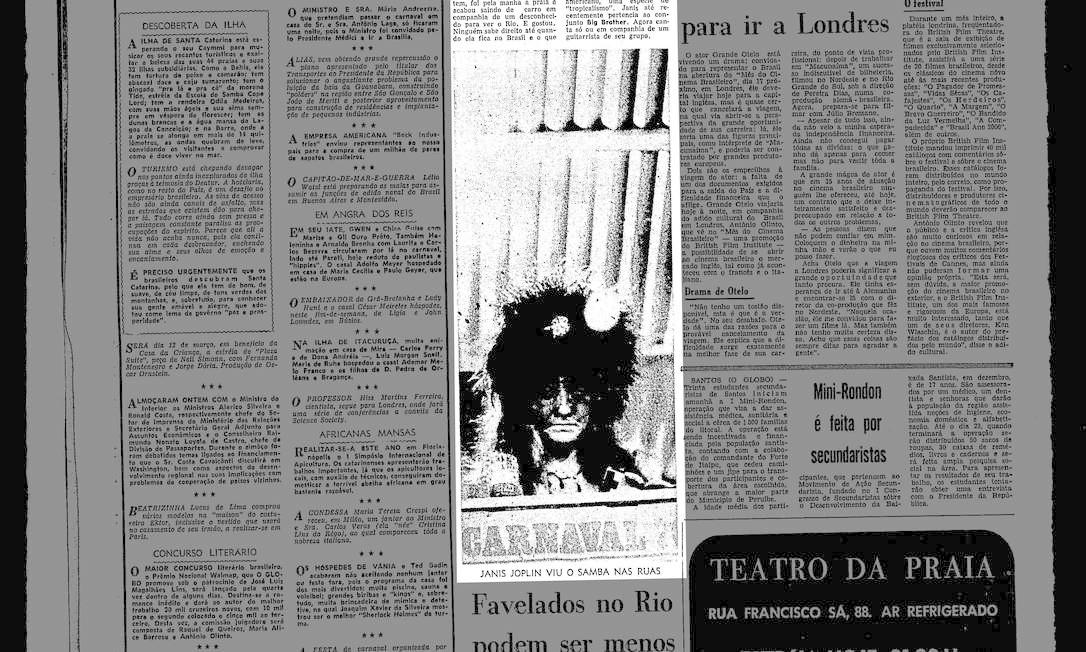 Reprodução de reportagem do GLOBO publicada quando a cantora estava na cidade, durante o carnaval de 1970 Foto: Agência O Globo