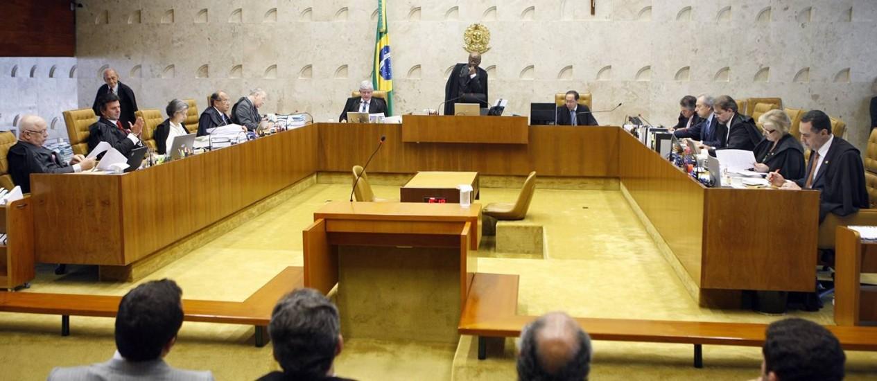 A sessão desta quarta-feira no plenário do STF Foto: Nelson Jr./SCO/STF / Agência O Globo