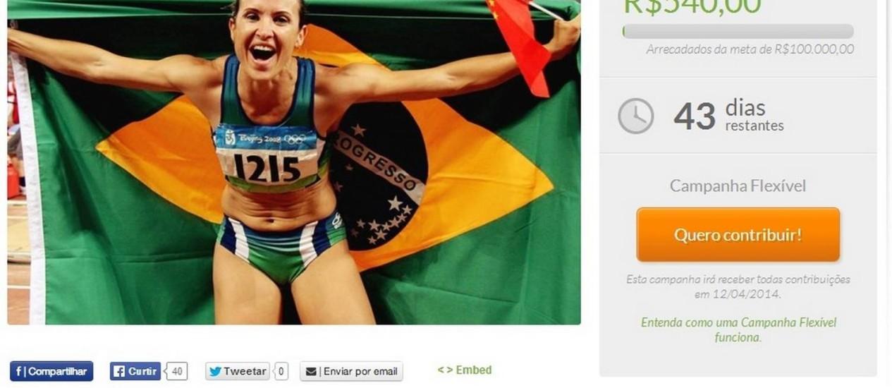 Maurren Maggi lança campanha na internet para seguir treinando Foto: Reprodução