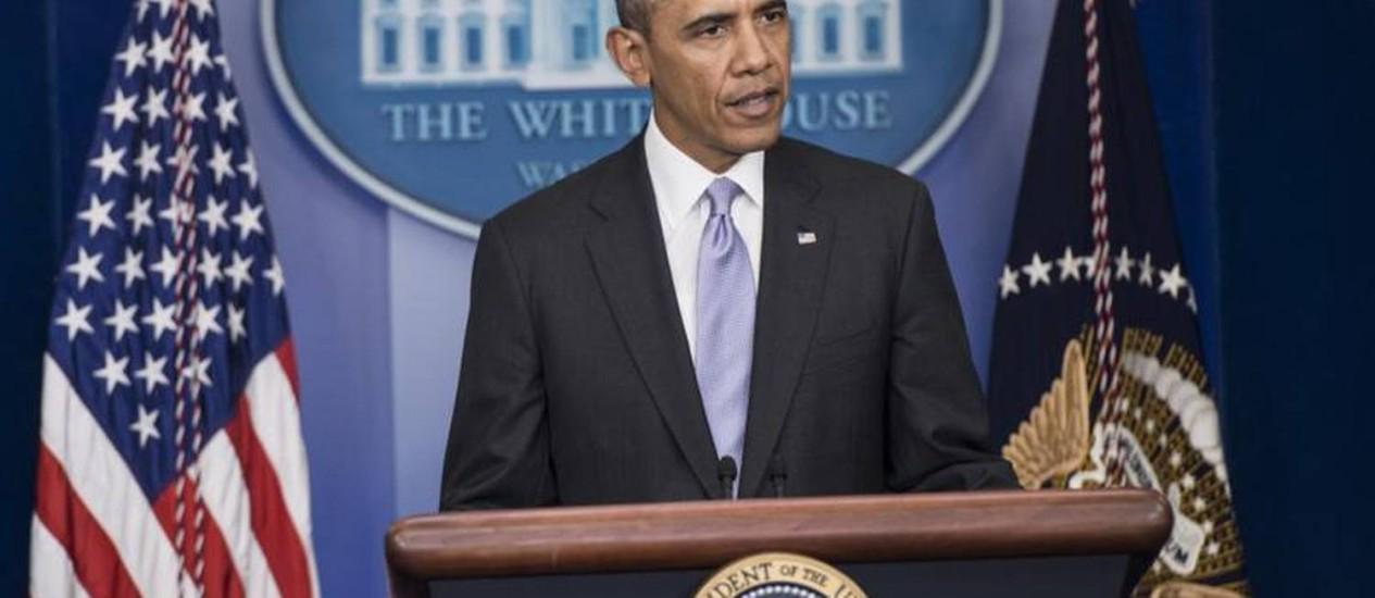 Barack Obama, presidente dos EUA, fala sobre a situação da Ucrânia Foto: AFP