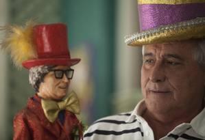 Chacrinha: Leleco Barbosa vai desfilar caracterizado como o pai Foto: Guilherme leporace / Agência O Globo