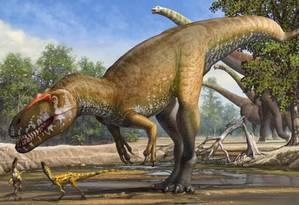 Ilustração mostra como seria o 'Torvosaurio gurneyi' Foto: Plos One
