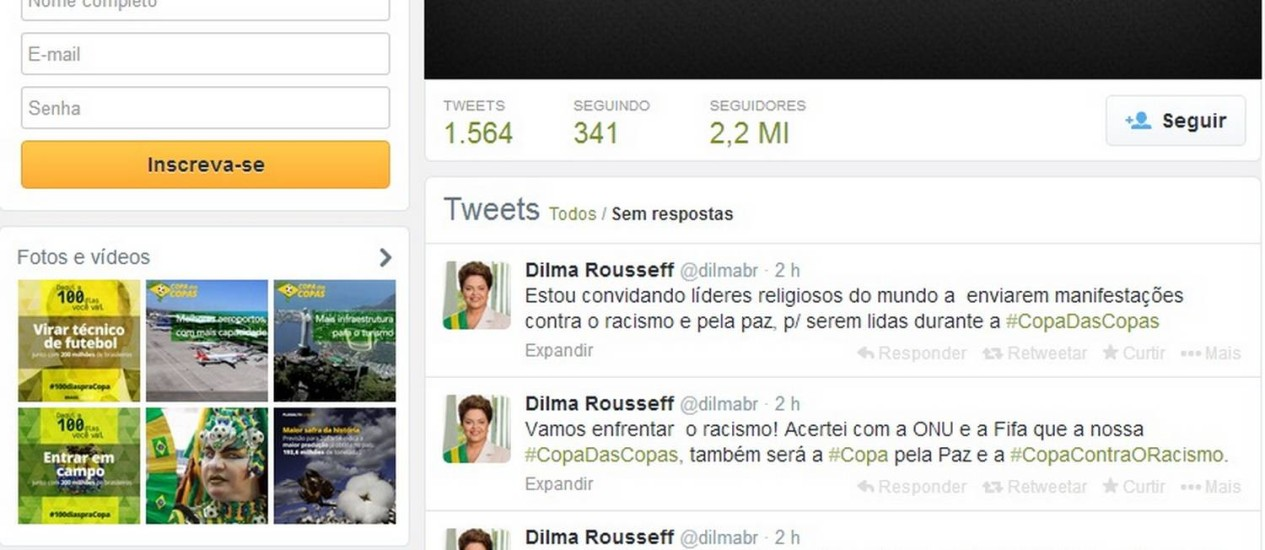 Dilma usou o Twitter para condenar a discriminação racial no país Foto: Reprodução