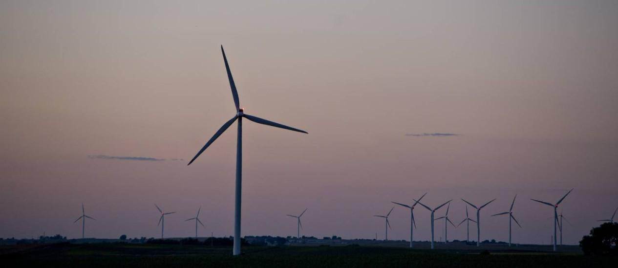 Usinas eólicas na cidade de Tiskilwa, Illinois Foto: Daniel Acker / Bloomberg