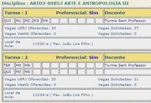 Sistema de inscrição online de disciplinas da UERJ oferece vagas, mas informa