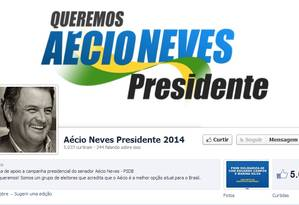 A página de apoio a Aécio Neves no Facebook Foto: Reprodução/Facebook