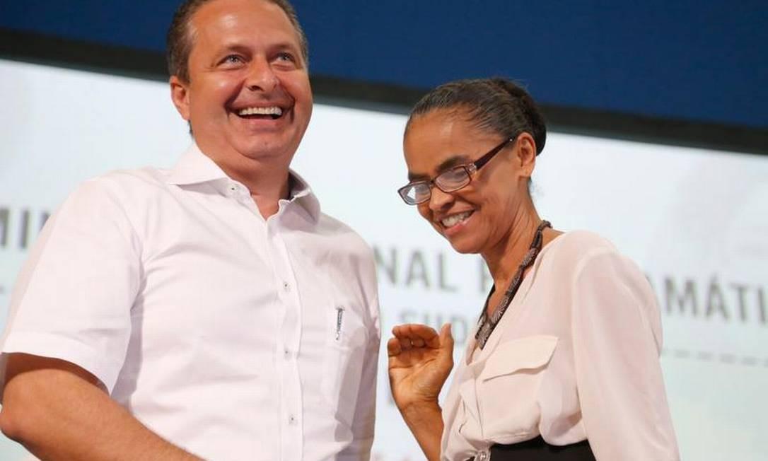 Marina Silva e Eduardo Campos em evento no Rio de Janeiro Foto: Ivo Gonzalez / O Globo