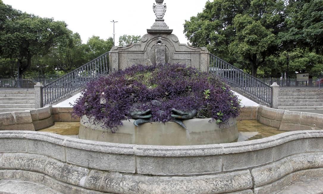 O chafariz de Mestre Valentim, original do século XVIII, permanece como foi originalmente projetado para o parque Agência O Globo