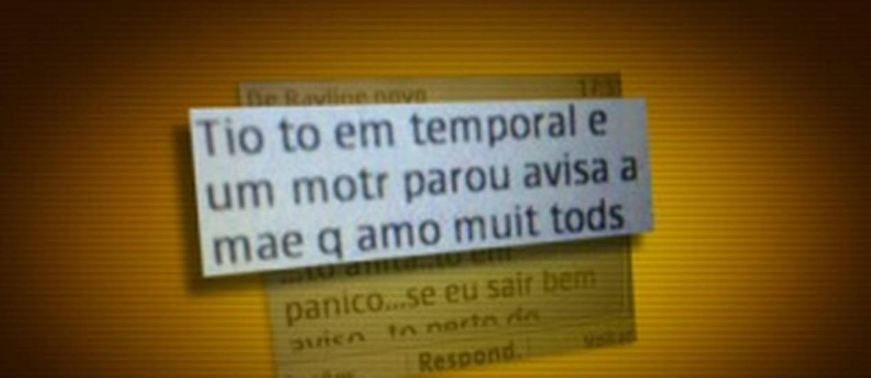 Tio de uma das passageiras recebeu mensagem no celular Foto: Reprodução/TV Globo