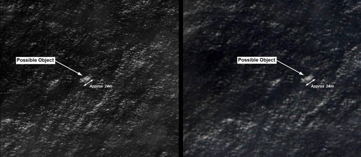 Montagem de imagens de satélite mostra objetos que poderiam ter relação com o voo desaparecido da Malaysia Airlines Foto: Australian Defence / AFP