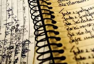 Um dos cadernos com anotações de Itamar Assumpção Foto: Reprodução