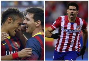 O Barcelona de Neymar e Messi vai pegar o Altético de Madrid de Diego Costa nas quartas de final da Liga dos Campeões Foto: AFP
