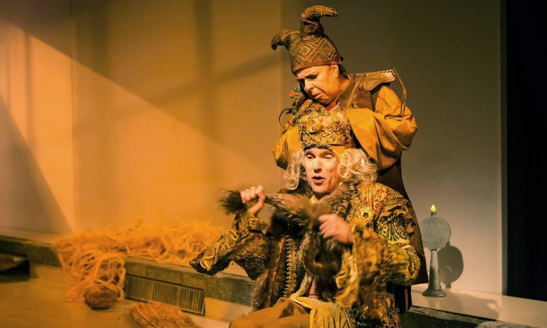 """""""2 x Matei"""". Projeto de Gilberto Gawronski e Guida Vianna reúne """"O último Godot"""" e """"O rei, o rato e o bufão do rei"""" (acima): a partir de hoje, às 21h, no Poeirinha Foto: Divulgação/Renato Mangolin"""