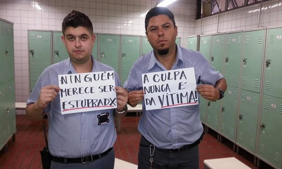 Homens que participaram do protesto Reprodução