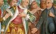 No painel do Colégio Anchieta, em Nova Friburgo, o padre aparece ao lado de índios e portugueses; nome central na interiorização do país