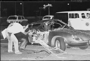 Bomba foi detonada dentro do Puma no Riocentro, aa noite de 30 de abril de 1981 Foto: Anibal Philot / Anibal Philot/ Arquivo O Globo