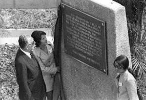 O Presidente Emílio Garrastazu Médice inaugura a Ponte Presidente Costa e Silva (Rio-Niterói) Foto: Arquivo O Globo 04/03/1977
