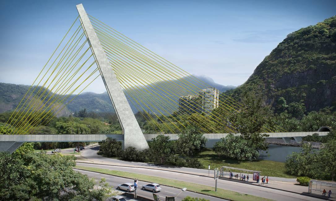 RI - A nova ponte da linha 4 do metrô na Barra da Tijuca. Essa não é mais assinada pelo arquiteto Calatrava. Foto: Reprodução
