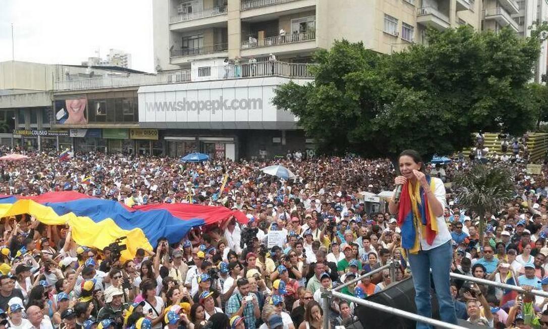 Marcha da oposição convocada por María Corina, em Caracas Foto: Reprodução/Twitter