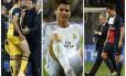 Diego Costa sai do jogo do Atlético de Madrid lesionado; Cristiano Ronaldo demonstra cansaço pelo Real Madrid; e Ibrahimovic deixa o campo contundido em partida do PSG.