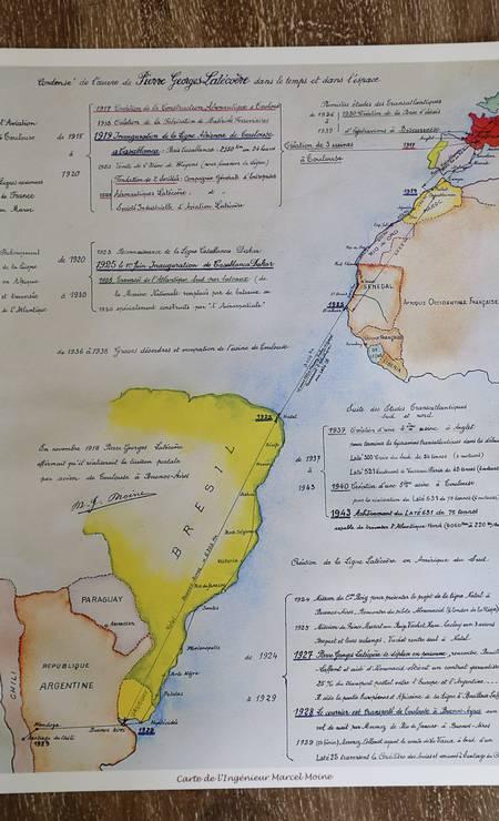 Mapa mostra trajeto dos aviões da companhia francesa Aéropostale para o Brasil. Foto: Hudson Pontes / Agência O Globo