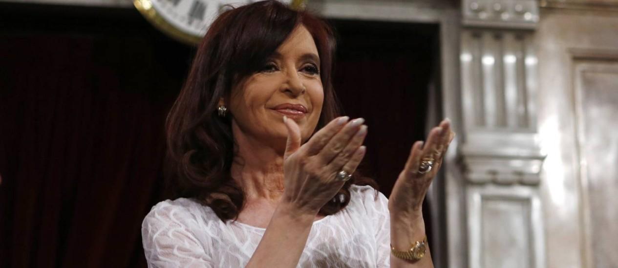 Presidente da Argentina, Cristina Kirchner, no Congresso em Buenos Aires Foto: MARCOS BRINDICCI / REUTERS