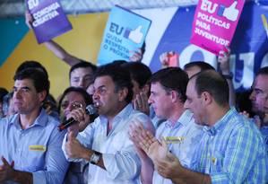 No ABC Paulista, Aécio Neves diz que 'ninguém é dono do voto e da consciência do trabalhador brasileiro' Foto: Michel Filho/Agência O Globo