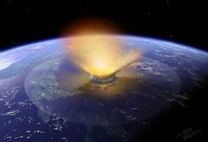Simulação de computador mostra como teria sido o impacto que extinguiu os dinossauros há 65 milhões de anos: entre 3 e 4 bilhões de anos atrás, Terra foi alvo de colisões ainda maiores que fariam este evento catastrófico parecer pequeno Foto: Richard Ingham/AFP