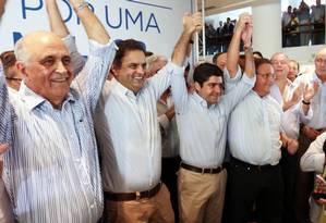 Aliados na Bahia, da esquerda para a direita: Paulo Souto (candidato a governador), Aécio Neves (à Presidência), ACM Neto (prefeito) e Geddel Vieira Lima (candidato ao Senado) Foto: Divulgação / Orlando Brito