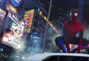 O Homem-Aranha de Andrew Garfield em Times Square, em Nova York Foto: Divulgação