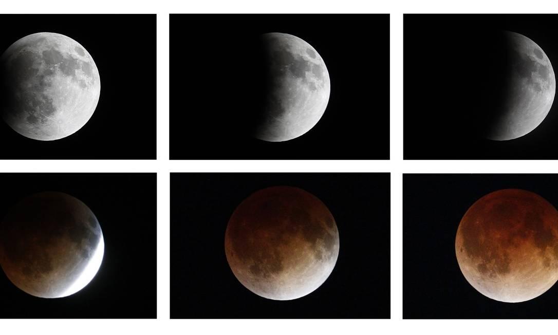 Uma conbinação de imagens mostra a Lua da Cidade do México durante o eclipse total deste 15 de abril EDGARD GARRIDO / REUTERS