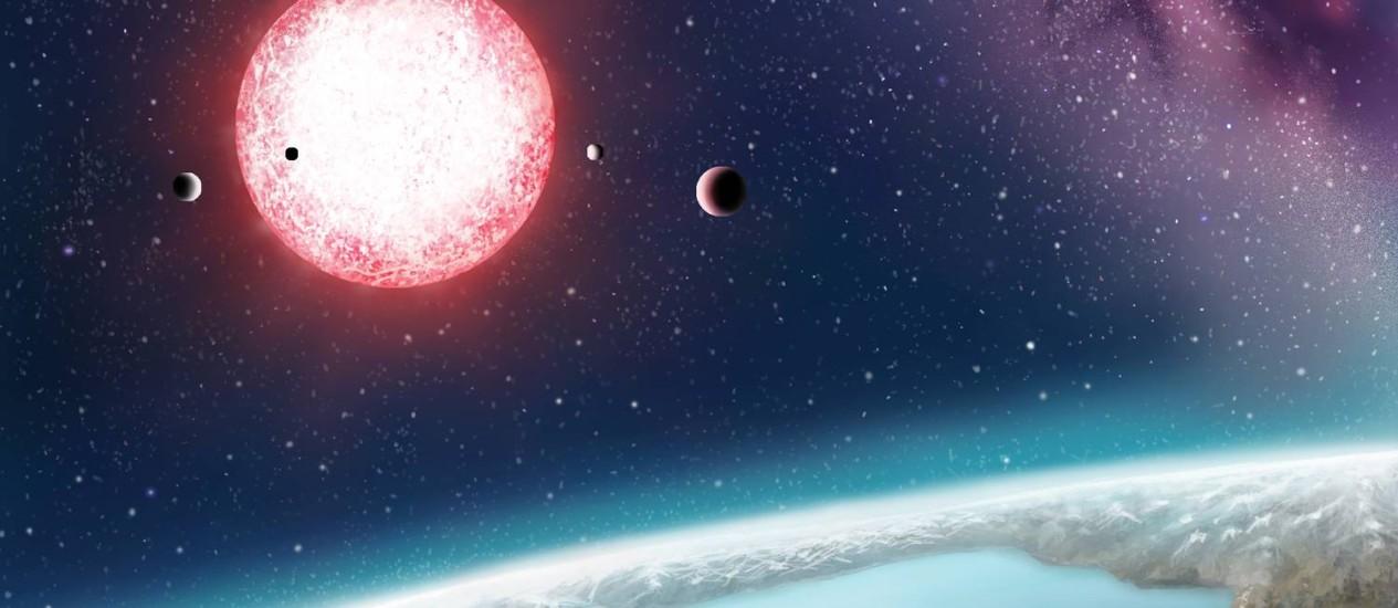 Ilustração mostra como pode ser o Kepler-186f, potencialmente o planeta extrassolar mais parecido com a Terra descoberto até agora Foto: Danielle Futselaar