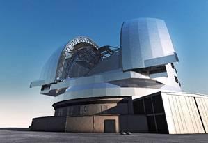 Ilustração mostra o E-ELT: supertelescópio será capaz de estudar armosfera de planetas extrassolares em busca dos primeiros sinais de vida fora da Terra Foto: Divulgação/ESO