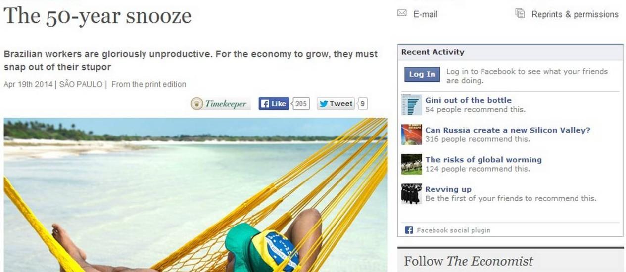 '50 anos de soneca': reportagem critica produtividade do brasileiro Foto: Reprodução da internet
