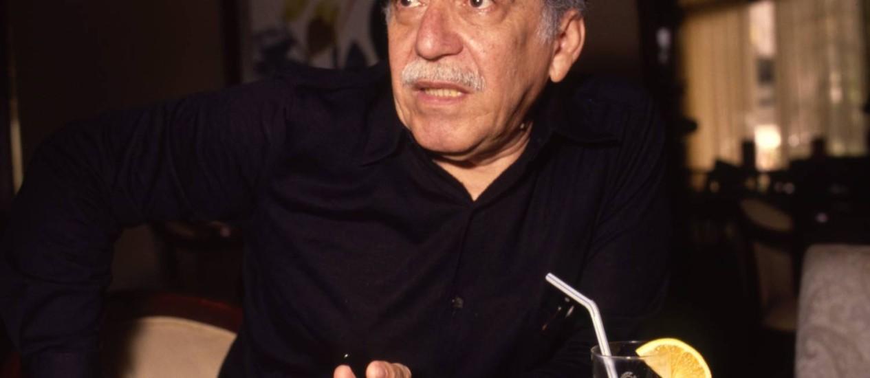 Raridade. Gabriel Garcá-Marquez durante entrevista ao GLOBO, em 1990, uma das poucas concedidas a jornalistas brasileiros em suas três passagens pelo país Foto: Terceiro / Carlo Wrede/3-1990