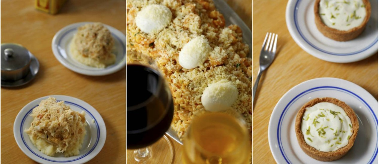 Casquinha de bacalhau, risoto de camarão e torta de limão: receitas clássicas do Siri da Barra Foto: Agência O Globo / Fotos de Hudson Pontes