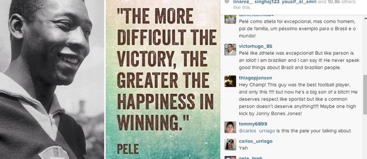 Jon Jones postou uma frase de Pelé em seu Instagram na última terça-feira Foto: Reprodução