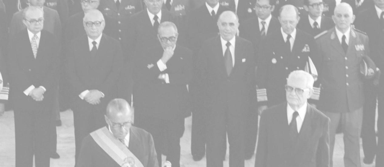 João Baptista Figueiredo chegou à Presidência em 1979. Na cerimônia de posse se comprometeu a fazer do país uma democracia Foto: Sebastião Marinho / Arquivo O Globo