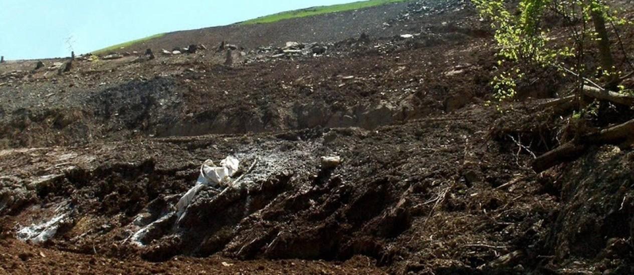 Erosão. O uso inadequado dos aditivos químicos provoca deslizamentos em campo de shale gas nos Estados Unidos Foto: Fac Tracker/Divulgação / Fac Tracker/Divulgação