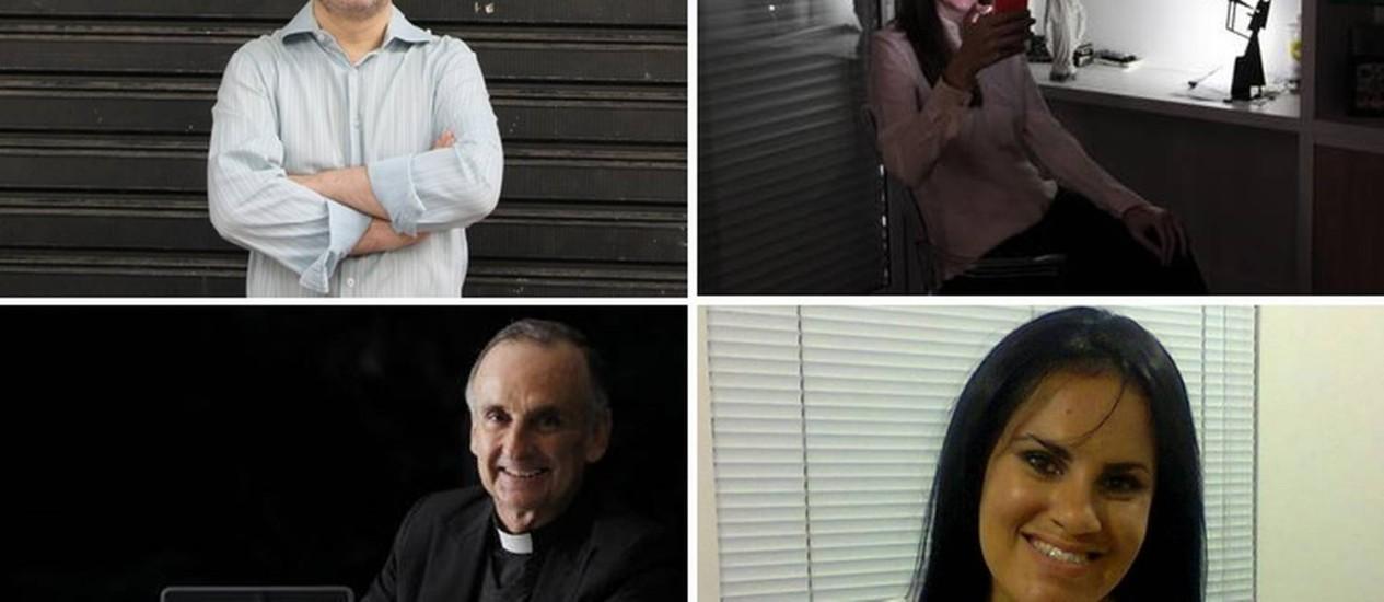 Em sentido horário, Daniel Sottomaior, Heloísa Cardillo Weiszflog, Wanda Karine Santana e Padre José María Ramírez Foto: O Globo e arquivo pessoal