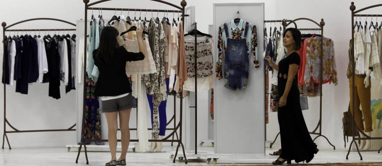 Recém-chegada. O showroom da marca carioca Ecletic, que acaba de se instalar em São Cristóvão: loja off em breve Foto: Gustavo Miranda