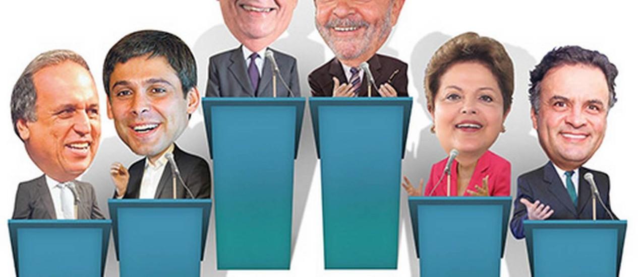 Pezão, Lindbergh, FH, Lula, Dilma e Aécio Foto: ARTE O GLOBO